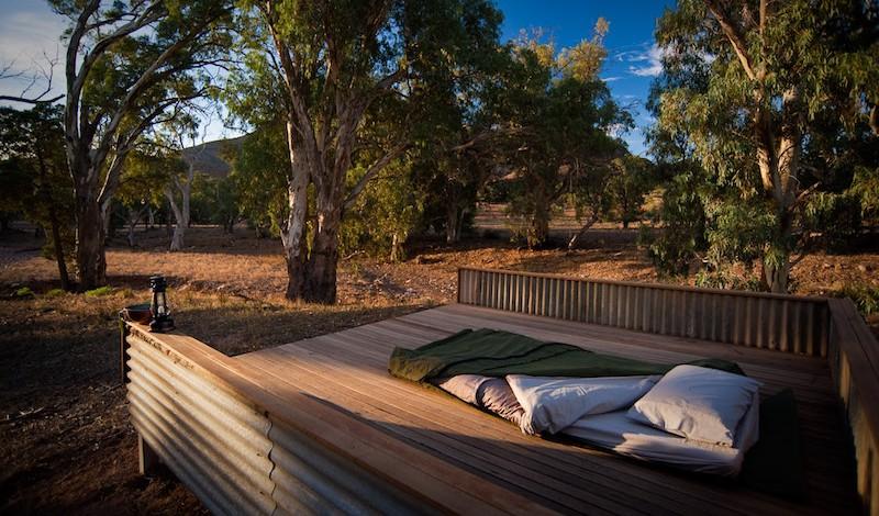 Swag already set up Camp 1, Arkaba Station, Flinders Ranges.