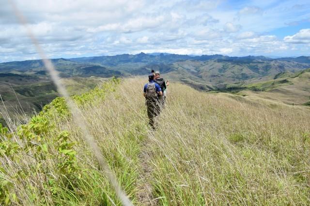 Hiking through Fiji highlands.