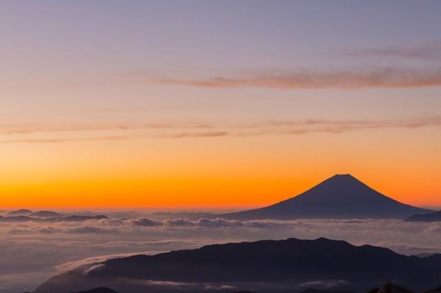 Mountain at sunset.